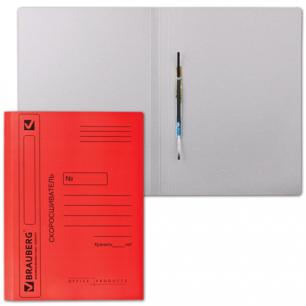 Скоросшиватель картонный мелованный BRAUBERG, гарант. пл. 360 г/м2, красный, до 200л.