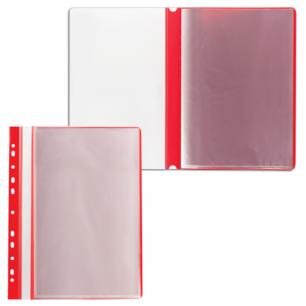 Папка 10 вкладышей STAFF с перфорацией, мягкая, красная, 0,16мм, 224976