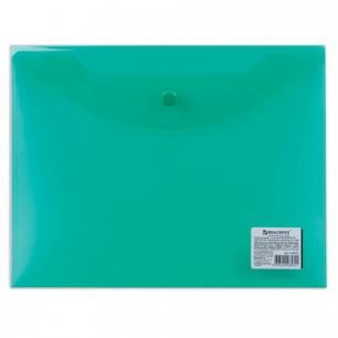 Папка-конверт с кнопкой BRAUBERG А5 240*190мм, прозрачная , зеленая, 0,15мм, 224025