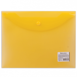 Папка-конверт с кнопкой BRAUBERG А5 240*190мм, прозрачная , желтая, 0,15мм, 224028