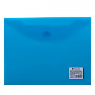 Папка-конверт с кнопкой BRAUBERG А5 240*190мм, прозрачная , синяя, 0,15мм, 224027