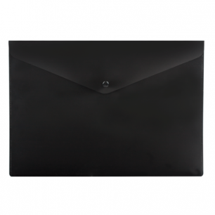 Папка-конверт с кнопкой  BRAUBERG А4, непрозрачная, ПЛОТНАЯ, черная, до 100 листов, 0,2мм, 221361