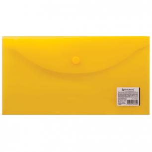 Папка-конверт с кнопкой BRAUBERG 250*135мм, д/билетов и документов, прозр, желтая, 0,15мм, 224032