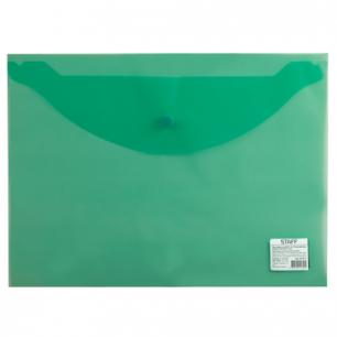 Папка-конверт с кнопкой STAFF эконом, А4, 340*240мм, прозрачная, зеленая, до 100 лист, 0,12мм, 225171