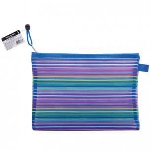 """Папка-конверт на молнии BRAUBERG """"Stripes"""", B5+, 310*220мм, сетчатая ткань, 224047"""