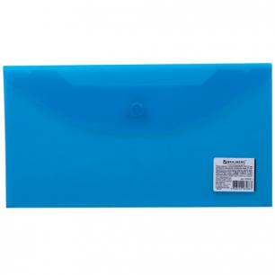 Папка-конверт с кнопкой BRAUBERG 250*135мм, д/билетов и документов, прозр, синяя, 0,15мм, 224031