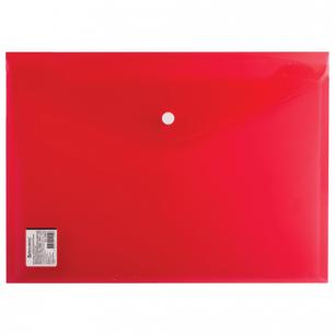 Папка-конверт с кнопкой BRAUBERG А4, прозрачная, ПЛОТНАЯ, красная, до 100 листов, 0,18мм, 224812