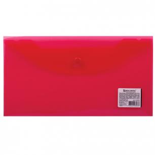 Папка-конверт с кнопкой BRAUBERG 250*135мм, д/билетов и документов, прозр, красная, 0,15мм, 224030