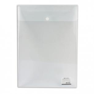 Папка-конверт с кнопкой BRAUBERG А4, вертикальная, прозрачная, до 100 листов, 0,15мм, 224978