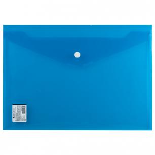 Папка-конверт с кнопкой BRAUBERG А4, прозрачная, ПЛОТНАЯ, синяя, до 100 листов, 0,18мм, 224813