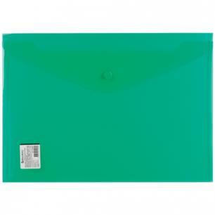 Папка-конверт с кнопкой BRAUBERG А4, прозрачная, ПЛОТНАЯ, зеленая, до 100 листов, 0,18мм, 224810