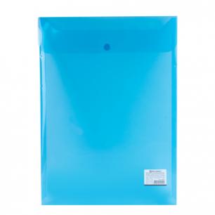 Папка-конверт с кнопкой BRAUBERG А4, вертикальная, прозрачная, синяя, до 100 листов, 0,15мм, 224977