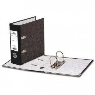 Папка-регистратор BRAUBERG А5 вертикал, фактура стандарт, мрамор покрытие, 70 мм, чер.корешок, 221721