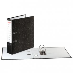 Папка-регистратор STAFF эконом, с мраморным покрытием, 50 мм, без уголка, черный корешок, 224615