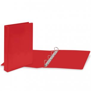Папка 4 кольца BRAUBERG, картон/ПВХ, с передним прозрачным карманом, 50мм, красная, до 300 листов