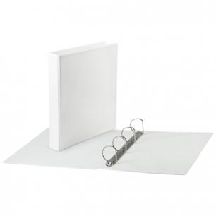 Папка 4 кольца BRAUBERG обзорная, картон/ПВХ 65мм, белая, до 400листов (для составления каталогов)