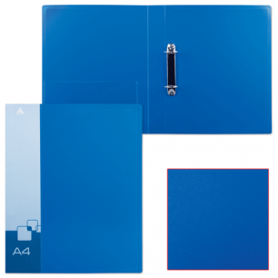 Папка 2 кольца БЮРОКРАТ 40мм, синяя, внутр. карман, до 250 листов, 0,8мм, 0812/2Rblue
