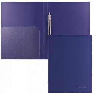 Папка с мет. скоросш. и внутр. карм. BRAUBERG Диагональ, т-синяя, до 100 лист, 0,6мм, 221352