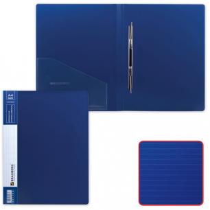 Папка с мет. скоросш. и внутр. карм. BRAUBERG Contract, синяя, до 100 лист, 0,7мм, бизнес-класс