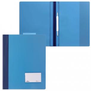 Скоросшиватель пластиковый DURABLE (Германия), широкий, карман для визитки, полупрозрач, син, 2680-06