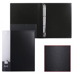 Папка 4 кольца БЮРОКРАТ 27мм, черная, внутр. карман, до 150 листов, 0,7мм, 0827/4Rblck