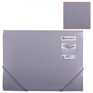 Папка на резинках BRAUBERG Диагональ, серебряная, до 300 листов, 0,5мм, 221336