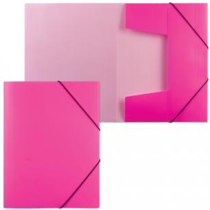"""Папка на резинках """"Хатбер"""" HD, А4, Неоново-розовая, до 300 листов, 0,7мм, Пк4р_02033 (V160244)"""