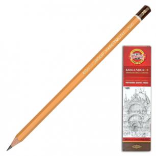Карандаш ч/гр KOH-I-NOOR 1500 7B, корпус желтый, без резинки, заточенный, картонная упаковка