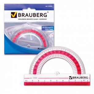"""Транспортир BRAUBERG """"Сrystal"""", 10см, 180 градусов, прозрачный с выдел. шкалой, европодвес, 210292"""