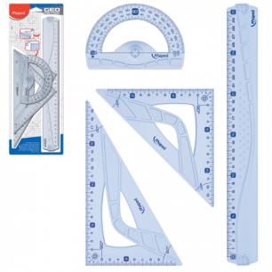 """Набор чертежный MAPED (Франция)  """"Geometric"""" (линейка 30 см, 2 угольника, транспортир), блистер, 242767"""