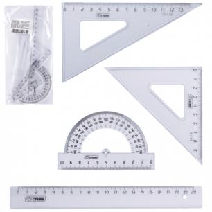 Набор чертежный средний СТАММ (линейка 20см, треугольник 2шт., трансп-р), прозрачный, НГ13
