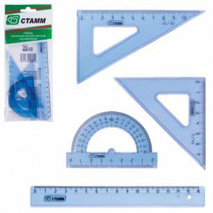 Набор чертежный малый СТАММ (линейка 16см, треугольник 2шт., трансп-р), прозрачный, европодвес, НГ01