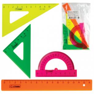 Набор чертежный СТАММ малый (линейка 16 см, треугольник 2 шт, транспортир), цветной, НГ12