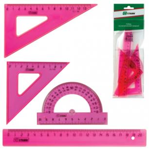 """Набор чертежный средний СТАММ """"Neon Cristal"""", (линейка 20см, треугольник 2шт., трансп-р), неон., НГ14"""
