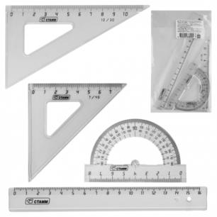Набор чертежный малый СТАММ (линейка 16см, треугольник 2шт., транспортир), тонир. прозрачный, НГ11