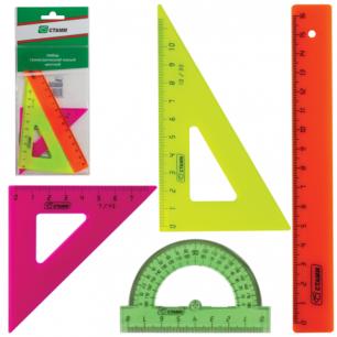 """Набор чертежный малый СТАММ """"Neon"""", (линейка 16см, треугольник 2шт., трансп-р), неон., европодвес, НГ02"""