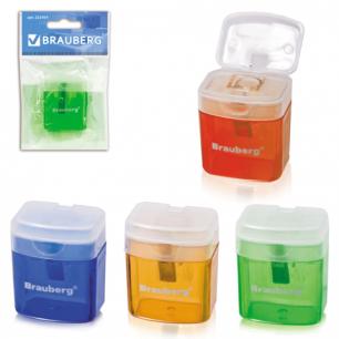 """Точилка BRAUBERG """"OfficeBox"""", с контейнером и крышкой, прямоуг., в упаковке с подв, ассорти, 222494"""