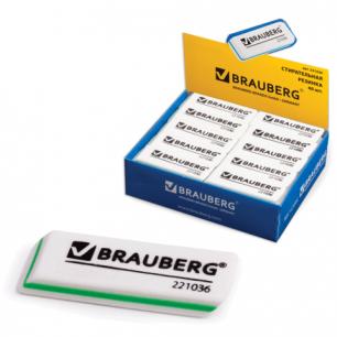 """Резинка стирательная BRAUBERG """"Partner"""", 57*18*8 мм, трёхслойная, белая, в карт дисплее, 221036"""