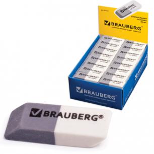 Резинка стирательная BRAUBERG 41*14*8 мм, серо/белая, в картонном дисплее, 222461