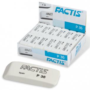 Резинка стирательная FACTIS пластиковая для карандаша со скош. краем, 56х19,5х9 мм, P-36