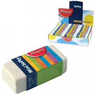 "Резинка стирательная MAPED (Франция)  ""Softy Mini"", 39х18х12,5 мм, белая, карт. держ, дисплей, 511780"
