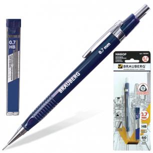 Набор BRAUBERG мех.карандаш, трёхгр. cин. корп + грифели HB 0,7мм 12 шт, блистер, 180494