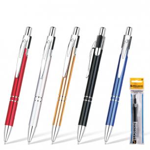 "Ручка шариковая BRAUBERG бизнес-класса ""Dragon"", корп. ассорти, серебр. детали, 1мм, 141438, синяя"
