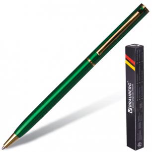 "Ручка шариковая BRAUBERG бизнес-класса ""Slim Green"", корпус зелен., золот. детали, 141404, синяя"