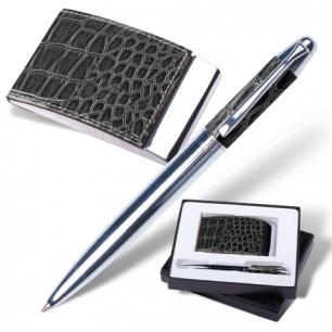 """Набор GALANT """"Prestige Collection"""": ручка, визитница, черный """"крок.кожа"""", подар.кор., 141377"""
