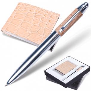"Набор GALANT ""Prestige Collection"": ручка, визитница, бежевый ""крок.кожа"", подар.кор., 141381"