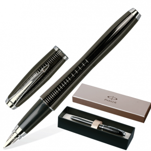 Ручка перьевая PARKER Urban Premium Ebony Metal Chiselled корпус латунь, хромированные детали