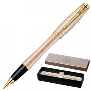 Ручка перьевая PARKER Urban Premium Vacumatic Golden Pearl корпус аллюминий, хром детали, 1906852,син