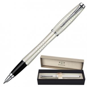 Ручка роллер PARKER Urban Premium Pearl Metal Chiselled корпус латунь, хромир. детали, S0911440,чер