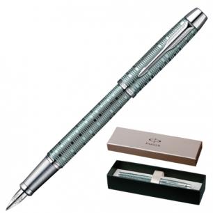 Ручка перьевая PARKER IM Premium Vacumatic Emerald Pearl CT корпус аллюминий, хром детали, 1906731,син